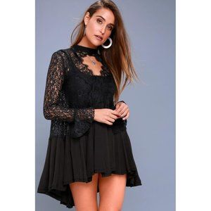 Free People New Tell Tale Lace Mock Neck Dress SM